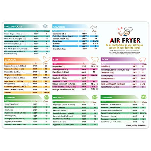 Air Fryer Magnetic Cheat Sheet Cookbook Cooker Accessories Big Magnet 11''x8'' Cooking Times Chart Kitchen Hot Air Frying Useful Gift Guide Cookbook Recipes Reference