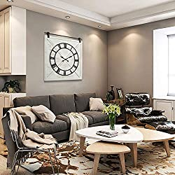 HAWOO Farmhouse Large Barn Door Wall Clock, Big Wall Clock with Silent Battery Operated Roman Numerals, Rustic Decorative Clocks for Living Room Decor, 30 H x 28 W, Whitewash