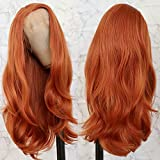 Lovestory Natural Straight Synthetic Lace Front Wigs Fashion Dark Orange Long Straight Wig For Women 180 Density 24 inch