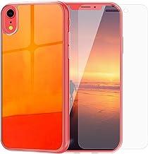 SanLead iPhone Case Quicksand Liquid Noctilucent iPhone case Shock-Absorbing Fall-Resistant and Leak-Proof TPU&PC for iPhone [Noctilucent] (for iPhone XR, Orange & Red)