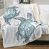 Sleepwish Sea Turtle Fleece Throw Blanket Aqua Blue Abstract Tortoise Plush Blanket Kids Girls Boys Super Soft Cute Sherpa Blanket for Couch Sofa or Bed Turtle Gifts for Women (50' x 60')