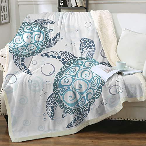 Throw Blanket with a Sea Turtle Theme