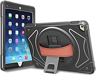 Moona iPad Pro 9.7 Case Cover Full Body 3 Layer Armor Protective Shockproof iPad Case with Hand Grip and Rotating Kickstand for Apple iPad Pro 9.7 (Black)