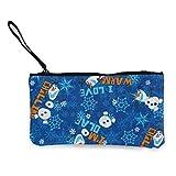 Yuanmeiju Frozen Olaf Chillin' Allover Blue Fabric Small Monedero Canvas Wallet Zipper Monedero Small Zipper Bag