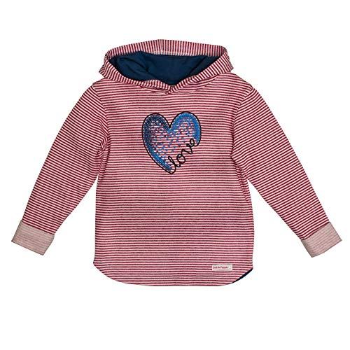 SALT AND PEPPER Mädchen Kapuzensweaty Cool & Crazy Herz mit Pailletten Sweatshirt, Rot (Cherry Red 337), 116 (Herstellergröße: 116/122)