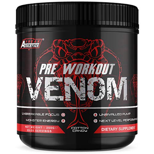 Pre Workout Venom 'Cotton Candy' - The No1 Pump Pre Workout Supplement by Freak Athletics - Elite Level Pre Workout Supplement - Pre Workout Powder Made in The UK - Available in Cotton Candy