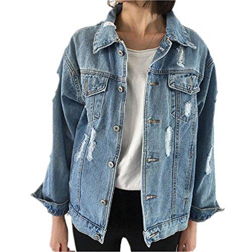 Minetom Damen Herbst Beiläufig Stilvoll Button Down Denim Gewaschene Mit Patches Jean Jacket Mantel Lose Jeansjacke Outwear Blau DE 44