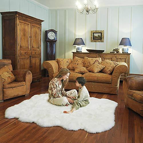 Teppich Faux Lammfell Schaffell Longhair Fell Optik Nachahmung Wolle Bettvorleger Sofa Matte (Weiß, 120 x 180 cm)