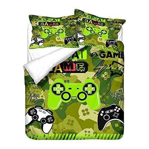Ropa de Cama con Gamer 3D Consola de Juegos Blanco y Negro Morado Verde Oscuro Niño Adolescente Creativo Microfibra Funda Nórdica Gamepad con Funda de Almohada (Color 3,220x240 cm Cama 150 cm)
