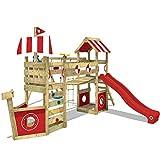 WICKEY Aire de jeux bois StormFlyer avec balançoire et toboggan rouge, Maison enfant exterieur avec bac à sable, mur d'escalade & beaucoup d'accessoires de jeux