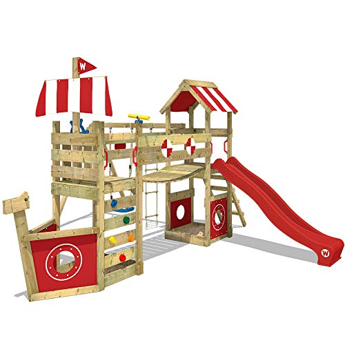 WICKEY Parco giochi in legno StormFlyer Giochi da giardino con altalena e scivolo rosso, Casetta da gioco per l'arrampicata con sabbiera e scala di risalita per bambini