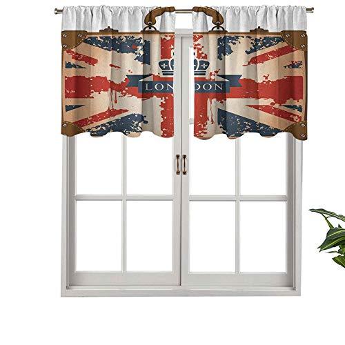 Hiiiman Cortinas pequeñas para ventana de cocina, maleta de viaje vintage con bandera británica y corona de cinta de Londres, juego de 1, 106,7 x 45,7 cm para cocina, baño y cafetería.