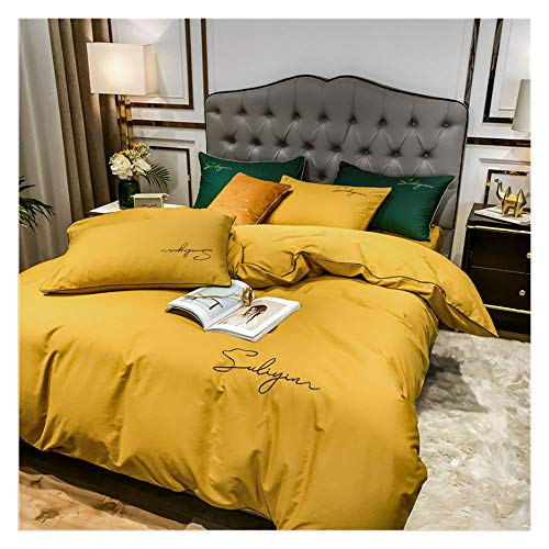 KHDJ Long Staple Cotton Bed Set,Double Size Bed Sheets Set - 4 Piece Extra Soft Brushed Microfiber Sheets Set, Comfortable Breathable Bedding Sheets,turmeric,220 * 240cm
