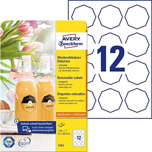 AVERY Zweckform Flaschenetiketten Art. 5083 (120 Aufkleber ablösbar, 61x60,3mm auf A4, achteckig, für Einmachgläser, Gewürzgläser, Likörflaschen, Selbstgemachtes aus der Küche) 10 Blatt weiß
