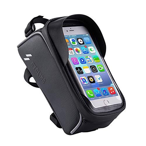 自転車 トップチューブバッグ 自転車 フレームバッグ スマホ ホルダー 防水 防圧 日除け 大容量 多機能 携帯ホルダー 6.0インチスマホ対応 iphone android 多機種対応 防水バッグ バイク スタンド ホルダー(ブラック)