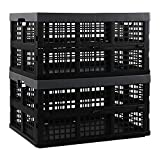 Pekky 34 Quart Plastic Milk Crates Stackable, Collapsible Storage Crate, 2 Packs