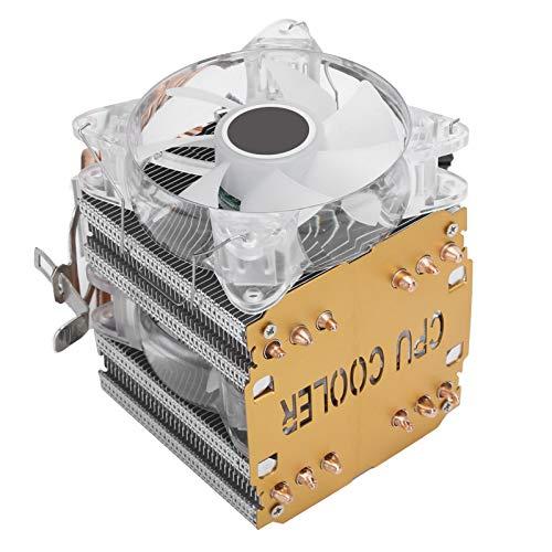 Vbestlife1 Radiador perforador de Tubos de Calor con radiador, radiador de CPU de Doble Ventilador, Gran Volumen de Aire y radiador de CPU de 4 Pines silencioso y rápido