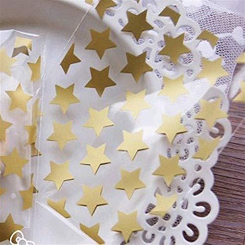 ZHHO 50 PC 8 * 10 + 3cm Blanca Estrella de Oro Adhesivo Galletas Bolsa de Regalo for DIY la Caja del Caramelo Food Packaging Bolsas exhibición de la joyería Organizador Packing (Color : Gold)