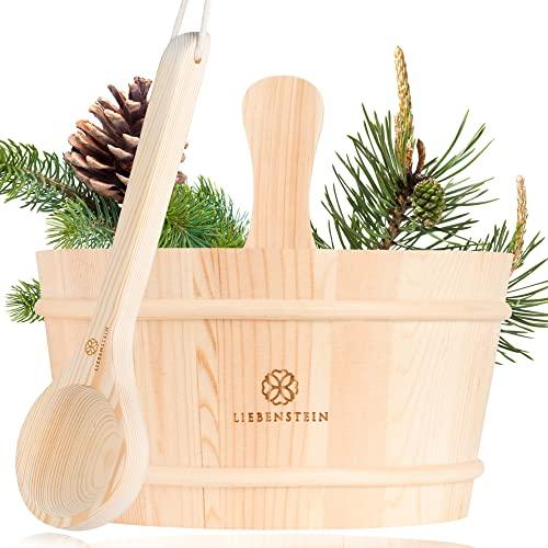 Liebenstein® Sauna Eimer mit Kelle [4L] – handgefertigt aus finnischem Kiefernholz – hochwertiges Sauna Zubehör Set – bestehend aus Saunaeimer, Saunakelle und Schutzeinsatz – Dein Sauna Set