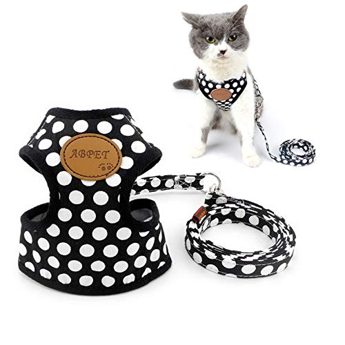 Ranphy Dog Cat Harness and Leash Set No Pull Puppy Mesh Vest Dog Harness Adjustable Girl Boy Polka Dot Chihuahua Yorkie Harness for Small Dog Cat for Walking Training Hiking Running Black Size M
