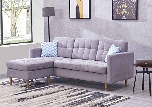 83 Inches Mid-Century Modern Sectional Sofa Corner Couch Futon Sleeper Living Room Furniture Reversible Chaise with Soft Fabric (Grey)