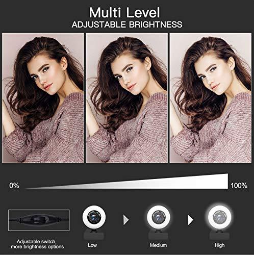 Webcam 1080P Full HD mit Mikrofon und Ringlicht, PC Web-Kamera mit automatischer Lichtkorrektur, USB 2.0 Plug & Play für Streaming Videochat und Aufnahme, Windows, Mac und Android