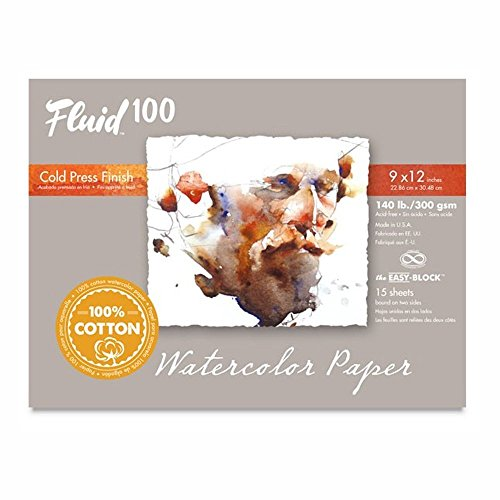 Fluid 100 Watercolor Paper 811218 140LB 100% Cotton Cold Press 9 x 12 Block, 15 Sheets