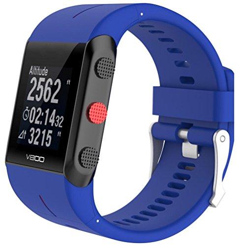 SHOBDW Ersatz Silikon Gummi Uhrenarmband Handschlaufe für Polar V800 Uhr (Blau, 160-220MM)