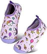 Toddler Kids Water Shoes Lightweight Non-Slip Aqua Socks Shoes for Beach Walking for Boys Girls Toddler(BT-S Unicorn Pink,32/33)