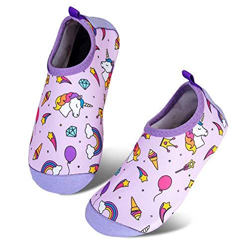 Toddler Kids-Water-Shoes Lightweight Non-Slip Aqua-Socks Swim-Shoes for Beach-Pool Walking for Boys Girls(BT-S Unicorn Pink,18/19)