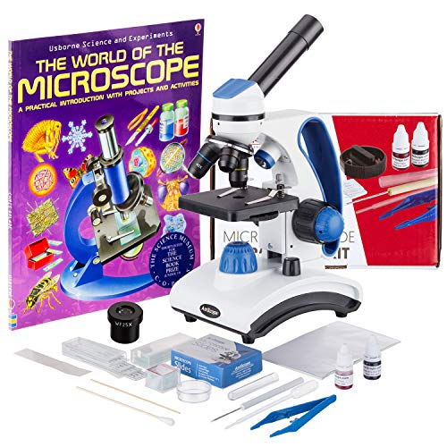 AmScope M162C-2L-WM-SP14-50P100S 40X-1000X Dual Light Glass Lens Metal Frame Student Microscope + Slides