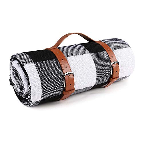 WASDY Waterproof/Sand-Proof Family Picnic Blanket Foldable And Portable with PU Leather Handle for Outdoor Travel Camping Hiking Activities, 150X200cm,Black