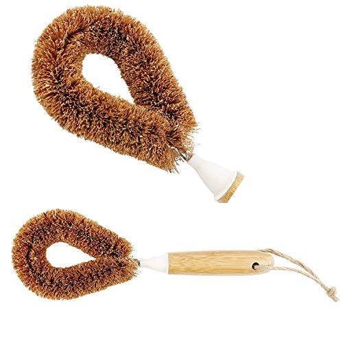 Tawashi Vegetable Brush | Wooden Bamboo Scrub Brush for Vegetables, Potatoes, Dishes | Made from Natural Coconut Fibers, Clean Fruit, Produce, Organic Food | Best Palmbrush with Easy to Hold Handle,