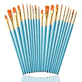 Paint Brushes Set for Acrylic Painting, 20 Pcs Nylon Hair Art Paintbrushes Kit for Watercolor Face Fabric Rock Model Oil Canvas Small Detail Miniature Painting, Kids/Adult/Artist Craft Supplies