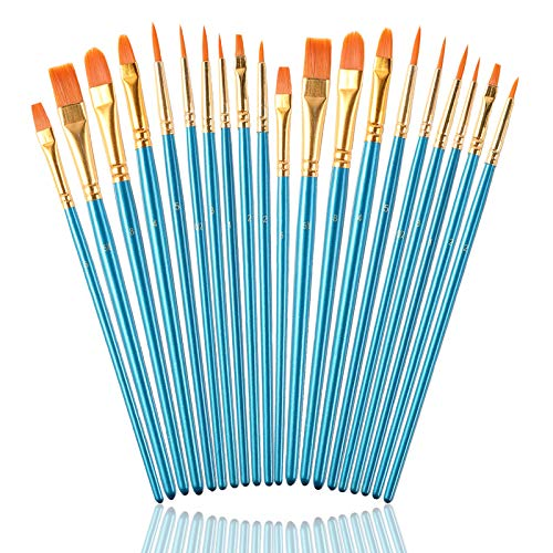 Paint Brushes Set for Acrylic Painting, 20 Pcs Nylon Hair Art Paintbrushes Kit for Watercolor Face Fabric Rock Model Oil Canvas Small Detail Miniature Painting, Kids Adult Artist Craft Supplies