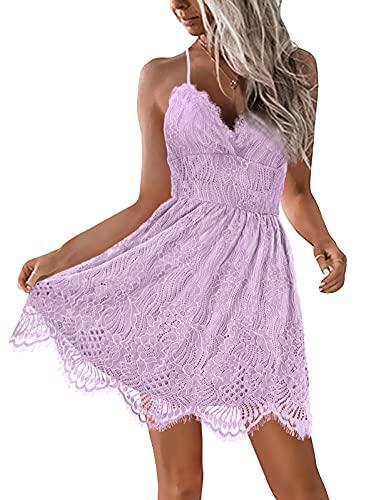 AOOKSMERY Women Summer V-Neck Spaghetti Straps Lace Backless Mini Party Club Beach Dresses (Lavender, Medium)