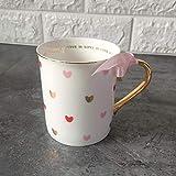 Moda Lindo Corazón Taza De Agua Taza De Cerámica con Tapa Cuchara Mango Personalidad Oficina En Casa Pareja Café Jugo Leche Tazas Set-2