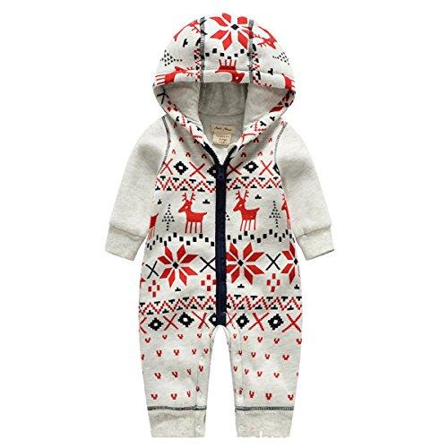 Bebone Baby Weihnachtspullover Jungen Strampler Mädchen Overall (18-24 Monate/90cm, Rentier)