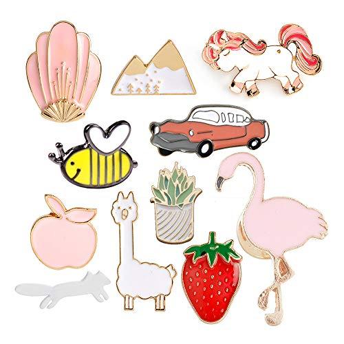 Godagoda carino spilla set Cartoon Animal Plant Fruit spilla spille per vestiti borse zaini