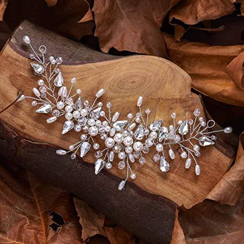 Unicra Crystal Bride Wedding Hair Vine Silver Pearl - Fascia per capelli per donne e ragazze