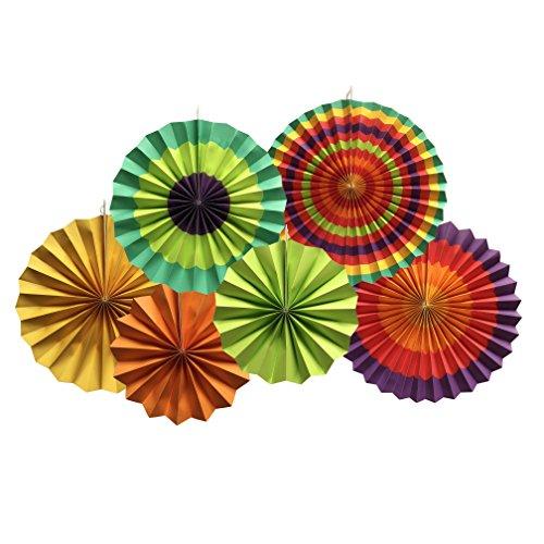 YEENI Fiesta Fans | Fiesta Dekorationen | Mexikanische Hochzeit | Hochzeitsfest | Mexikanische Papierfans | Papierfächer | Fiesta Party | Fiesta Regenbogen Banner | Fans