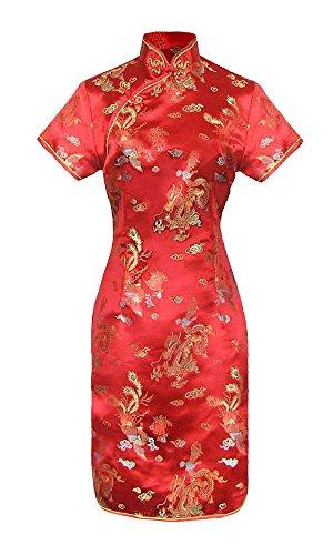 Vestido chino corta rosso cheongsam mangas cortas Qipao motivo dragón tamaño 38