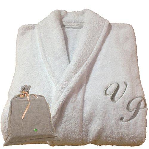 BGEUROPE Hotel Spa Edition - Albornoz personalizable con cuello de monograma blanco, 100% algodón (M)