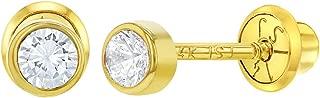 14k Yellow Gold Tiny Bezel CZ Screw Back Baby Infants Girls Earrings 3mm