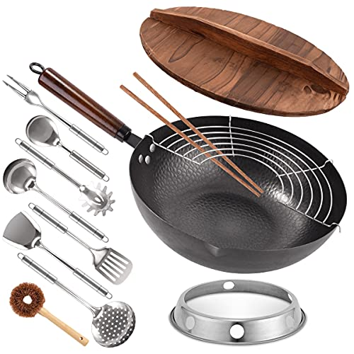 Carbon Steel Wok, 13 Pcs Wok Pan with Wooden Lid & Handle Stir-Fry Pans 13' Chinese Wok Flat Bottom Wok with Cookware Accessories Suitabe for all Stoves (Black)…