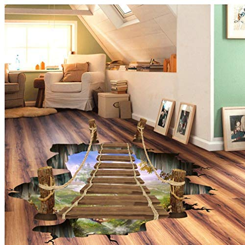 Gamloious 3D PVC Hängebrücke Herausnehmbare Bodenaufkleber Wandaufkleber für Shop-Room Floor-Wand-Dekor Dekorative schwarz