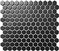 "1 Carton/10 SQFT | Black 1"" Hexagon Mosaic Tile (Matte)"