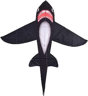 BONJIU Children's Outdoor Fun Large Black Shark Kite Toy for Kids Lifelike Black Shark Kite Single Line Kite Flying for Children Kids Outdoor Toys Beach Park Playing