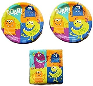 Fun Monsters Birthday Party Plates (16) Napkins (16) Party Bundle