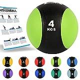MSPORTS Medizinball 4 kg – Professionelle Studio-Qualität inkl. Übungsposter Gymnastikbälle